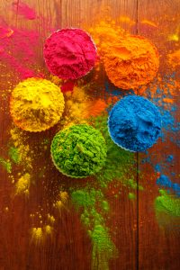 Organic Gulal colours for traditional Hindu Holi festival.